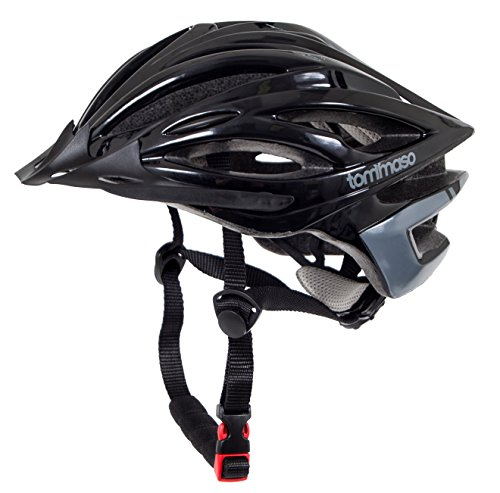 Tommaso Ombra Lightweight Cycling Bike Helmet With Removable Visor, For Road & Mountain Biking, Adjustable Fit, Fully Certified Safety Protection For Men Women Youth - Gloss Black - M/L