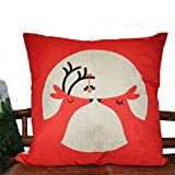 Decorative Pillow Cover - Lydealife 18 X 18 Inch Cotton Linen Decorative Throw Pillow Cover Cushion Case, In-Love Deer HJ004