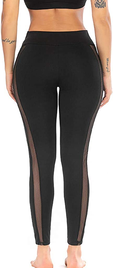 Wllsagl Xouwvpm Women Yoga Pants Mid Waist Solid Color Perspective Running Sport Leggings Trousers