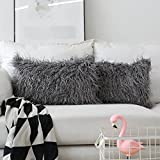 HOME BRILLIANT Set of 2 Decorative New Luxury Series Merino Style Fur Oblong Throw Pillow Case Rectangle Cushion Cover 12''x20'', 30x50cm, Dark Grey
