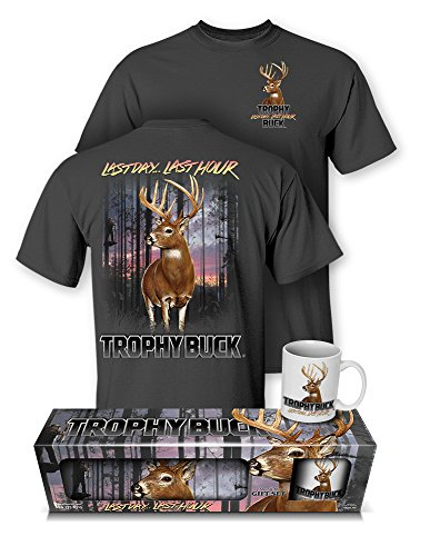 Follow the Action Whitetail Deer Trophy Buck Hunting T-Shirt and Mug Gift Set (Trophy Whitetail Deer)