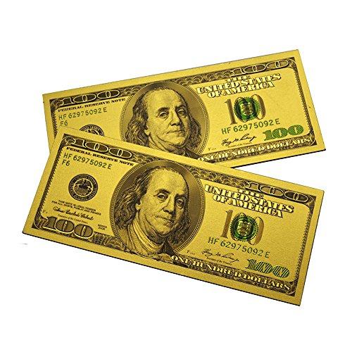 Fridge Gold - 2PCS x $100 Bill One Hundred Dollar Lucky Money Magnet US Souvenir Patriotic Office Board Desk Door Fridge Magnets April Fools - Set of 2 (Gold)