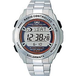 SOLARMATE watch CITIZEN Q & Q Chronograph Solar Digital Radio (Solar Mate) Silver MHS7-200 Men's 10 water pressure