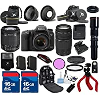 Canon 7D Mark II Camera Body with 18-55mm IS STM Lens + 75-300mm III + 500mm Preset Lens + 24pc Kit - International Version