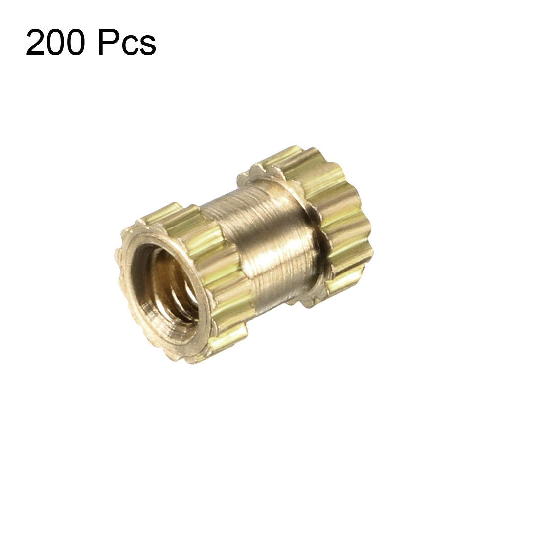 Pack of 100 M3 x 10mm L OD Female Thread Brass Embedment Nuts x 5mm uxcell Knurled Threaded Insert