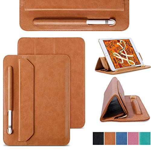 JISON21 for iPad Mini 5 Sleeve Case 2019 Soft Microfiber Tablet Leather Thin 7.9 inch Sleeve Bag with Pencil Holder Trifold Case for Apple iPad Mini5/4/3/2/1 (Brown)