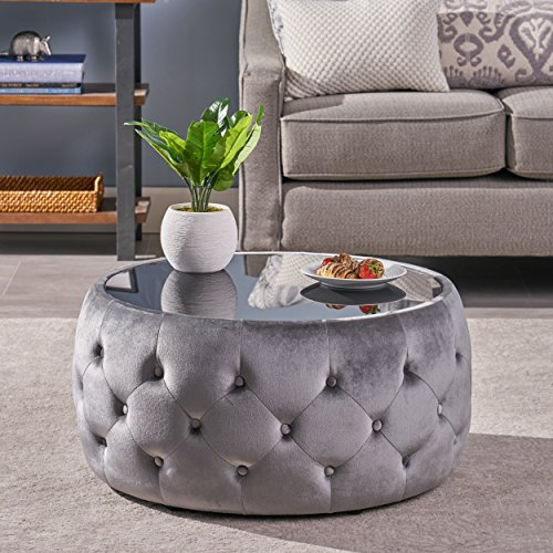 Christopher Knight Home Ivy Glam Velvet and Tempered Glass Coffee Table Ottoman, Smoke, Black (Glass For Sale Mirrors Big)
