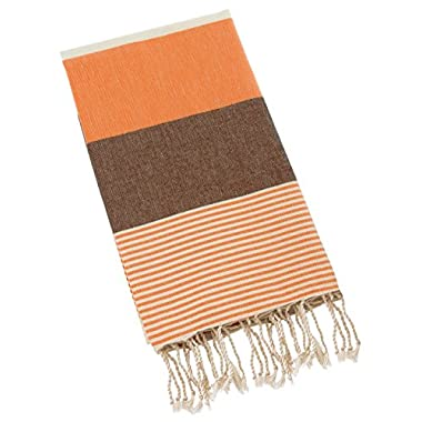 Swan Comfort 100% Natural Turkish Cotton Absorbent Beach Towel, Easy Care ideal for Bath Spa Fitness Yoga Pool Yatch Swimwear Guest Gym - Orange - Brown