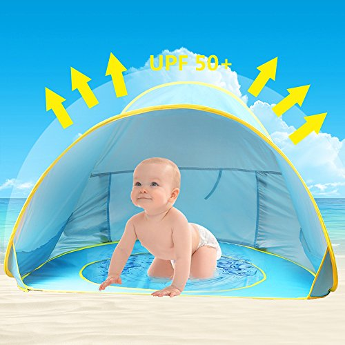 Oummit Baby Beach Tent Pop Up Baby Tent with Small Beach Pool,Automatic Foldable Portable Baby Sun Shelter with Sun Protection Anti UV Very Suitable for Beach Holidays.(Blue)