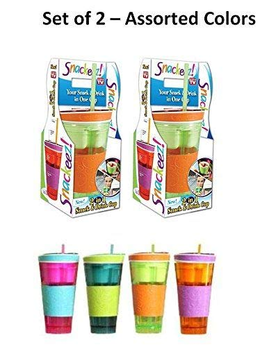 Snackeez Cup Assorted Colors 2 Pack (Drink Holder Me Straw With Cup)