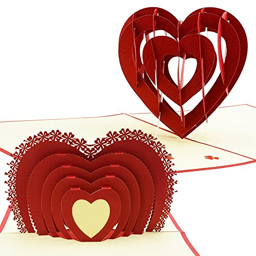 Heart Shaped Mother's Day Cards: 3D Pop Up Card To Say I Love You, And Happy Mother's Day, Perfect For Anniversary, Valentines, Birthdays (2 Pack - Kirigami)