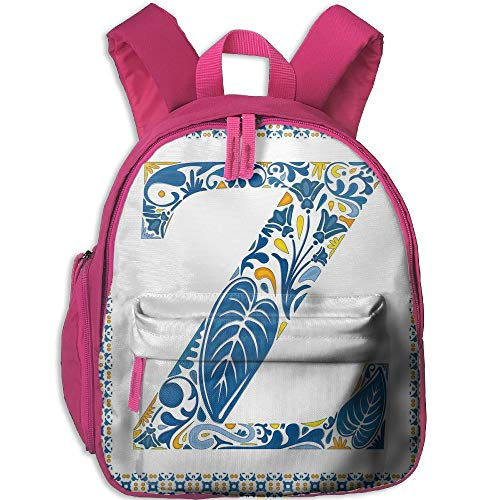 (Haixia Kid's Boys&Girls School Backpack with Pocket Letter Z Vibrant Colored Floral Design in Representation of Alphabet Frame Print Decorative Blue Yellow Orange)