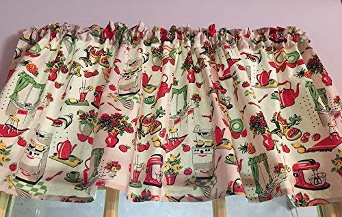 Retro Olive Red Kitchen Cotton Valance Sale Cotton Window Curtain Treatment 43