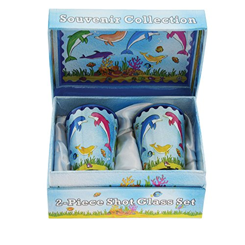 2-Piece Shot Glass Souvenir Gift Box Set - Tropical Hand Painted 2 Ounce Shot Glasses in a Beautiful Gift Box (Dolphins)