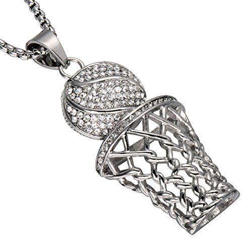 UNAPHYO Men's Stainless Steel Silver Hip Hop Diamond Mini Basketball Rim Pendant Charms Necklace 24 Inches Chain
