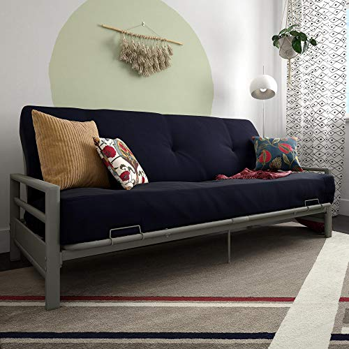 Contemporary Futon Frame - DHP 2263459 Miles Metal Futon Frame Perfect as a Sofa and Bed Silver