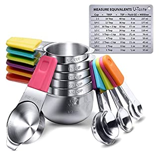 Measuring Cups, U-Taste Magnetic Measuring Cups and Spoons Set of 13 in 18/8 Stainless Steel: 7 Measuring Cups and 5 Measuring Spoons with 1 Professional Magnetic Measurement Conversion Chart
