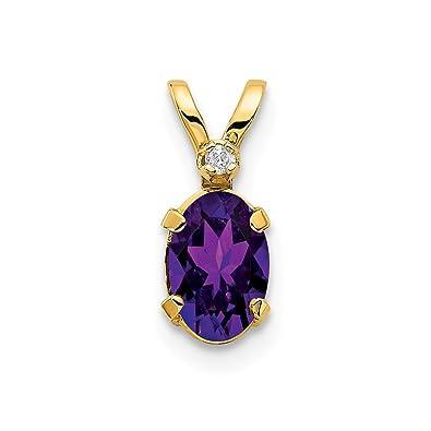 Gemondo Women 375 Gold 9ct Yellow Gold Pear Amethyst Wrapped Pendant Necklace Purple 45cm