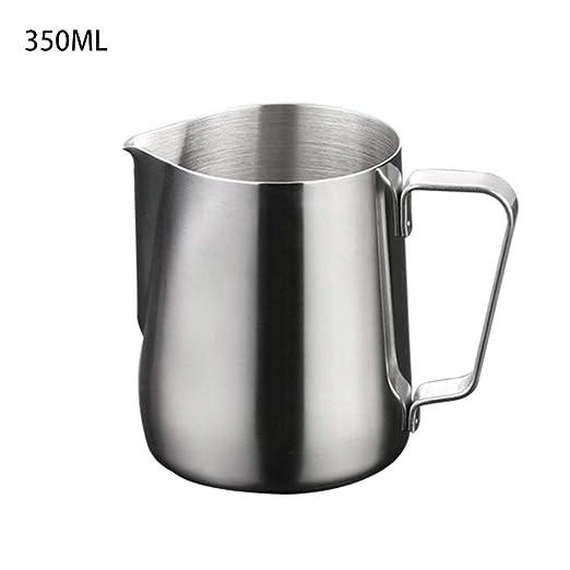 | Jarra de leche de acero inoxidable para Latte Art DELERKE Jarra de leche de acero inoxidable Black Mate Jarra de leche Barista con revestimiento de tefl/ón negro 400 ml para capuchino