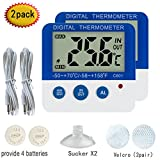 Digital Refrigerator Freezer Thermometer with Alarm 2 pack High & Low Temperature Alarms Settings with LED Indicator Fridge Thermometer with Magnet and Stand Nithing