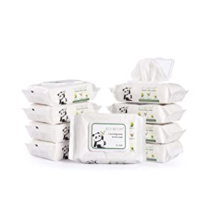 ECO BOOM Bamboo Wipes Biodegradable, Eco Friendly 100% Baby Wet Wipes for Sensitive and Newborn Skin 540 Count Unscented