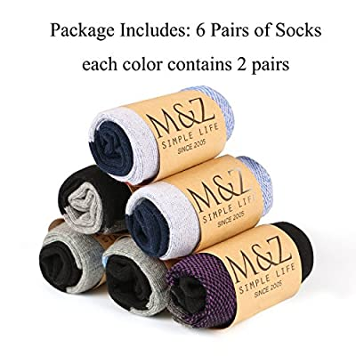 M&Z Mens Cotton Low Cut No Show Casual Crew Ankle Non-Slide Socks,6 Pairs (Multicolor)