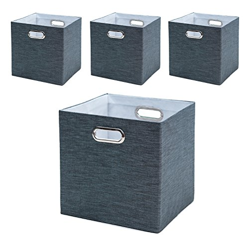 BAIST Fabric Storage Cubes,Fancy Big Collapsible Linen Bed Drawer Closet Storage Baskets Bins Organizers For Playroom Books Toys-set of 4,Silver Metallic Gray (Fancy Basket)
