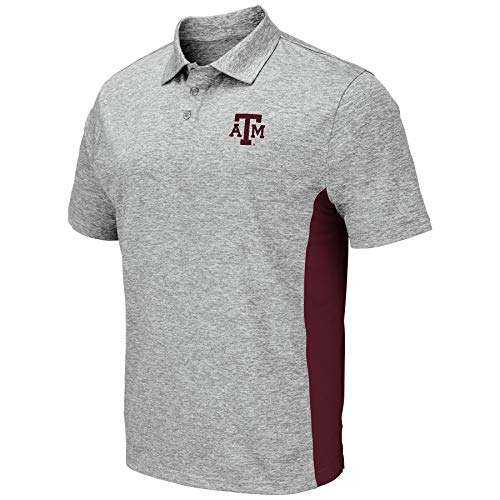 (Colosseum Men's NCAA-Drive- Golf/Polo Shirt-Heather Grey-Texas A&M Aggies-XL)