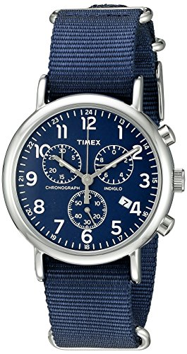 - Timex Men's TW2P71300 Weekender Chrono Blue Nylon Slip-Thru Strap Watch