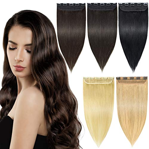 EMERLY Clip in Human Hair Extensions Long Straight 3/4 Full Head One Piece Human REMY Hair Extension for Women Brown Hair Extensions 18-22 inch (Long Straight Hair Extensions)