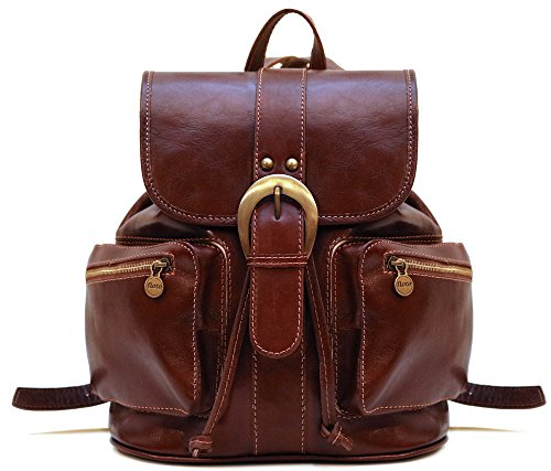 Floto Positano Backpack in Brown Full Grain Calfskin Leather by Floto
