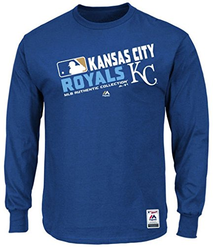 (Majestic Kansas City Royals MLB Mens Long Sleeve Team Choice Shirt Royal Blue Big & Tall Sizes (3XL))