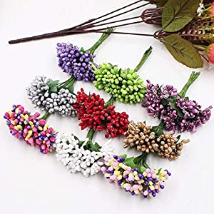 GSD2FF 12Pcs/lot Handcraft Artificial Flowers Stamen Sugar Wedding Party Decoration DIY Wreath Gift Box Scrapbooking 106