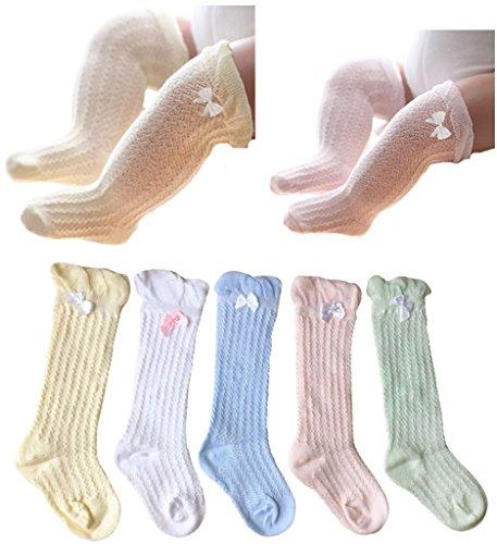 Dance Knee High Socks - QandSweet Baby Girl Knee-High Socks Toddlers Breathable Mesh Dance Sock Summer Anti-mosquito Socks (0-12M, Mix 5 Colors)