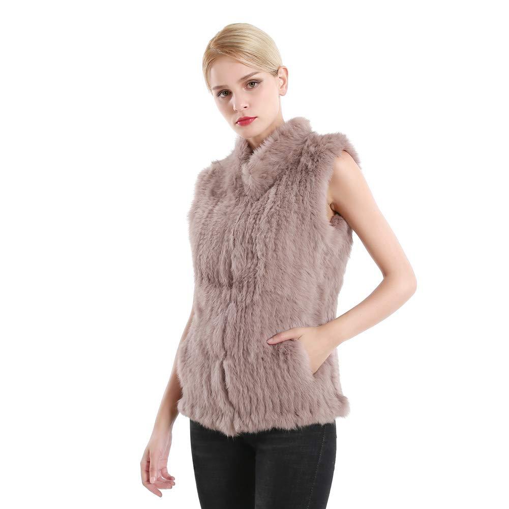 Queenfur Giacca da donna in vera pelliccia di coniglio con collo in vera pelliccia invernale giacca senza maniche con collo caldo