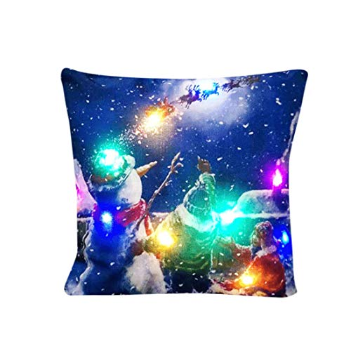 ♫ Toponly Creative Colorful LED Lights Linen Pillowcase Home Décor Christmas