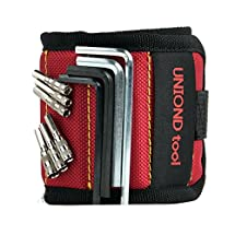 Best Magnetic Wristbands, With 5 Powerful Magnets UNIOND magnet wristbands for Holding Tools,Screws,Nails,Bolts, Drilling Bits and Small tools, nails and screws pouch (Red)