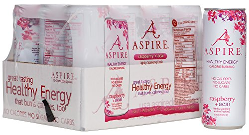 Aspire Healthy Energy  Calorie Burning  Zero Calorie  Zero Sugar Drink Raspberry   Acai 12 Count Case