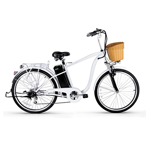 Electric Bike - Jushye 26-inch Camel Male Electric Bicycles with a Basket, Low-Carbon Environmental Protection, Superb Technology Electric Bikes For Christmas Gift(White) , Ship From US