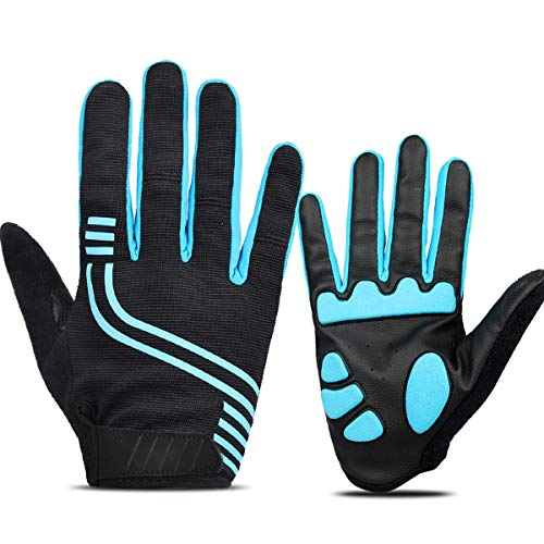 ANSOWQM Cycling Gloves for Men and Women Touch Screen, Full Finger Bicycle Gloves with 5MM Gel, Road/Mountain Bike Gloves, Shock Absorbing, Anti - Slip