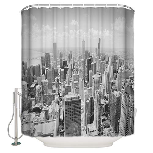 InvisibleWings Waterproof Polyester Fabric Shower Curtain Silhouette of Chicago City Overlook Cityscape Bathroom Decoration Unique Novel Printed Design Bath Curtains Sets with Hooks 66