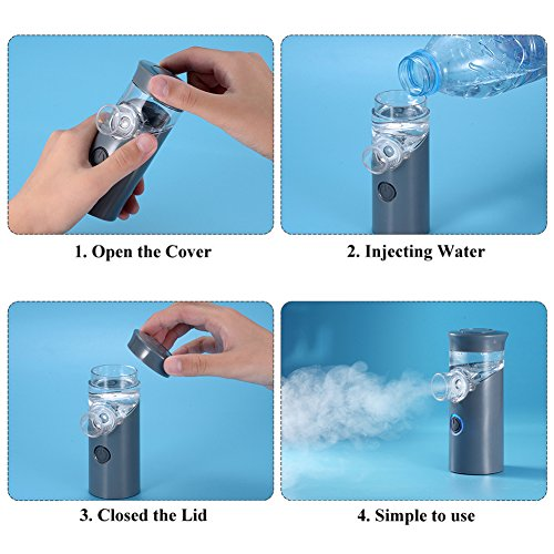 Punasi Mini Portable Inhaler, Handheld Ultrasonic Humidifier, Rechargeable Inhaler Machine for Adults Kids - Grey by Punasi (Image #8)