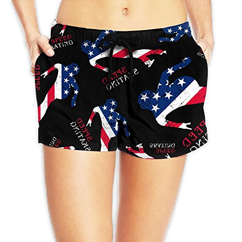 STW SHORT Speed Skating American Flag Women Swimsuit Board Shorts Quick Dry Beach - Speed Usa Suit