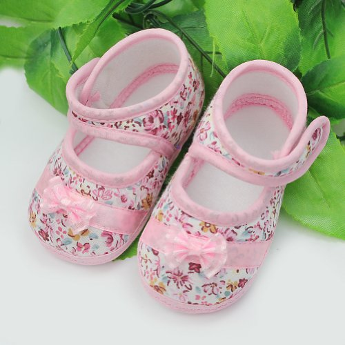 Baby Infant Girls Princess Warm Pink Bowknot Cotton Shoes Soft Bottom (0-9 Month)