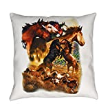 Royal Lion Burlap Suede or Woven Throw Pillow Wild Horses - Woven, 20 Inch