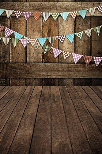 (Ecurson Vinyl Wood Wall Floor Photography Studio Prop Backdrop Background 3x5FT)