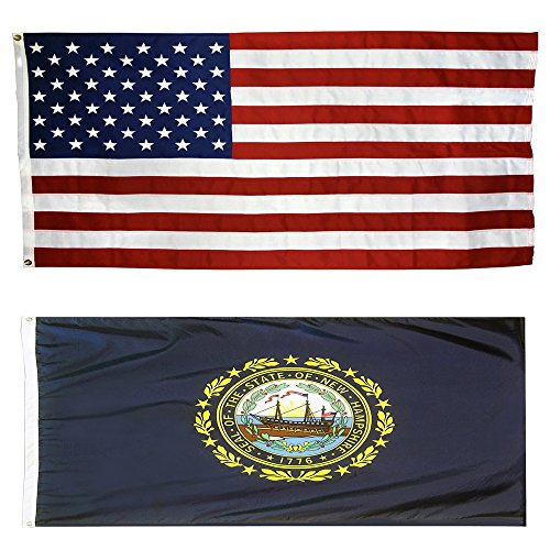 US Flag with New Hampshire State Flag 3 x 5 - 100% American Made - Nylon