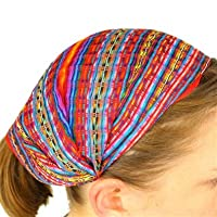 12 Cotton Headband Hair Tie Wrap Head Scarf Wholesale Pack Assorted Peru Cotton Fair Trade