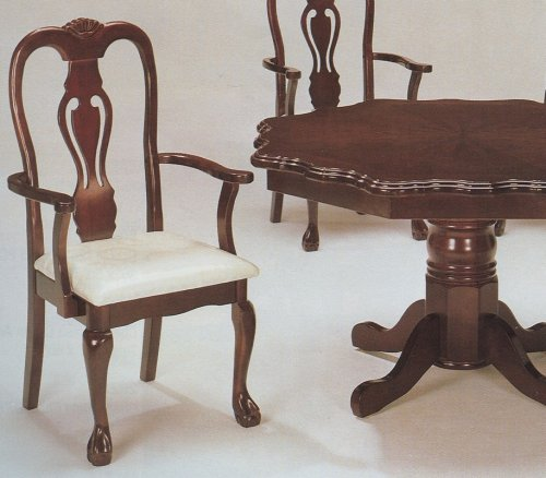 Queen Arm 2 Anne Chairs - Set of 2 Cherry Finish Queen Anne Wood Dining Arm Chair/Chairs with Cushion Seats