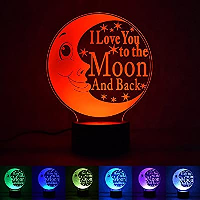 Rumfo LOVE Moon 3D Night Light, I Love You to the Moon and Back, 7 Colors Mode For Home Bedroom Pubs Bars Cafes Restaurants Halloween Christmas Decor